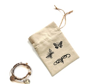 Linen fabric gift bag, butterflies, Mothers day gift bag, 5 x 7 inches pouch, hand painted drawstring bag, birthday gift bag