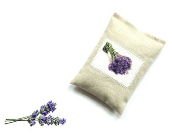 Lavender sachet bag, linen pillow sachet, organic fragrance, gift for her under 10, aromatherapy drawer freshener, lavender photo