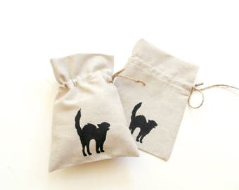 Linen gift bag, cat gift bag, black cat silhouette, drawstring pouch, Happy birthday, party favor, goody bag, Halloween bag