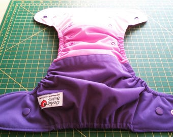 Amethyst,  one size pocket diaper AWJ lined, organic bamboo insert