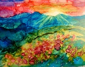 Sunrise Alcohol Ink Print by Maure Bausch