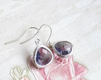 Amethyst color earrings Crystal glass earrings Purple teardrop earrings Violet glass jewelry handmade jewelry Sparkling earrings