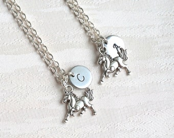 Best friend Necklace set of 2, 3 Horse Necklace with initials Horse Personalized Necklace Bridesmaid jewelry Best Friend gift set of 2, 3