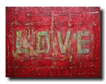 Original Large Abstract painting - 18 X 24  Inches-by Artist JMJartstudio- Love-Wall art-decor-Red painting