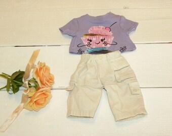 Beige Cotton Pants and Mauve Tshirt - 14 - 15 inch doll clothes