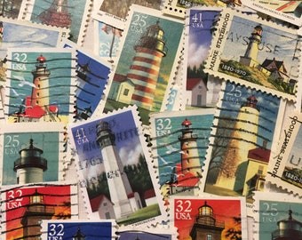 25 Lighthouse Stamps, Vintage stamps, Postage Stamps, Lighthouses, Travel Journal, Used Stamps