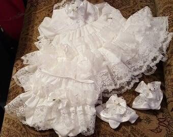 Boutique OOAK Custom Made Christening/Dedication Triple Ruffle Dress Set