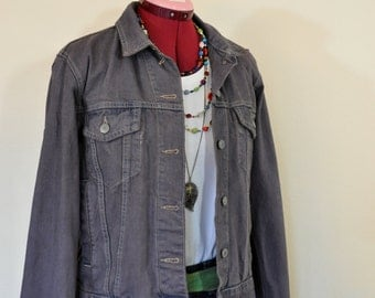 "Brown Medium Cotton JACKET - Coffee Dyed Upcycled Denim & Co Denim Trucker Jacket - Adult Womens Size Medium (40"" chest)"