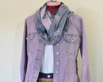 "Pink Large Denim JACKET - Petal Pink Dyed Upcycled Christopher & Banks Denim Trucker Jacket - Adult Womens Size Large (44"" chest)"