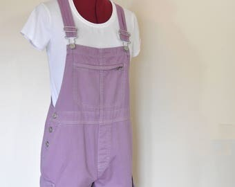 Purple Small Bib OVERALL Shorts - Lilac Lavender Dyed Upcycled Gloria Vanderbilt Cotton Overalls - Adult Womens Size Small (34 waist)