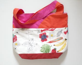 large tote bag, beach bag, diaper bag, picnic bag, beige, white,orange,pink,food fun print, eco-friendly,reclaimed fabrics,carry all bag