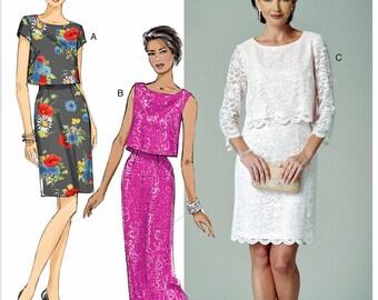 Evening Dress Pattern, Lace Overlay Dress Pattern, Straight Skirt Dress Pattern, Butterick Sewing Pattern 6414