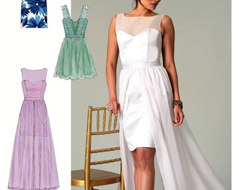 Wedding Dress Pattern, Evening Gown with Overskirt Train Pattern, Strapless Dress Pattern, Create It Pattern,  McCall's Sewing Pattern 7507