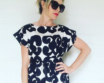 Womens Damask Dress made with Marimekko Fabric, Womens Dress , Black White Dress, Womens Shift Dress, Kiedas Fabric