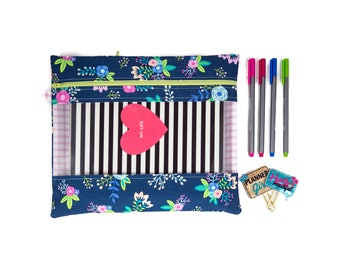 Rebecca Planner Pouch - Navy Floral - Erin Condren, Plum, Limelife, Emily Ley, InkWell, Happy Planners