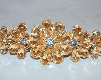 Vintage / Large / Hair Clip / Topaz / Yellow / Flowers / Rhinestone / Barrette / old jewelry / jewellery