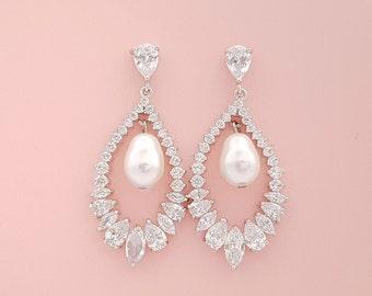 Crystal Earrings for Bride Teardrop Bridal Earrings Wedding Jewelry Crystal Pearl Wedding Earrings Cubic Zirconia, Juliette