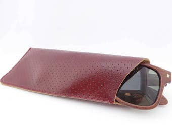 Leather Sunglasses Case Green Avocado Leather and Vintage Flower Lining