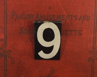 vintage 30s metal sign number 9 30mm industrial metal sign black white hanging hangs old age worn antique initial date him her coworker #55