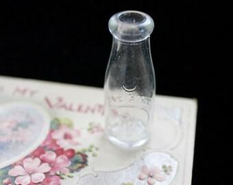 Vintage Clear Pressed Glass Milk Bottle , Miniature