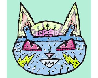 Robot Cat Wiggly Kitties Cat Art Print