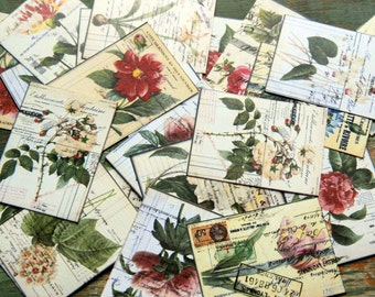 "25 Floral Stickers, Vintage Ephemera Stickers, 1.5"" x 2"" (38x51mm) Vintage Flower stickers, Botanical stickers, Recycled stickers"