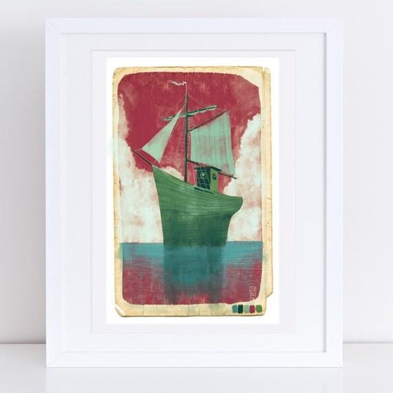 November Sailing Ship - Signed Giclee Print