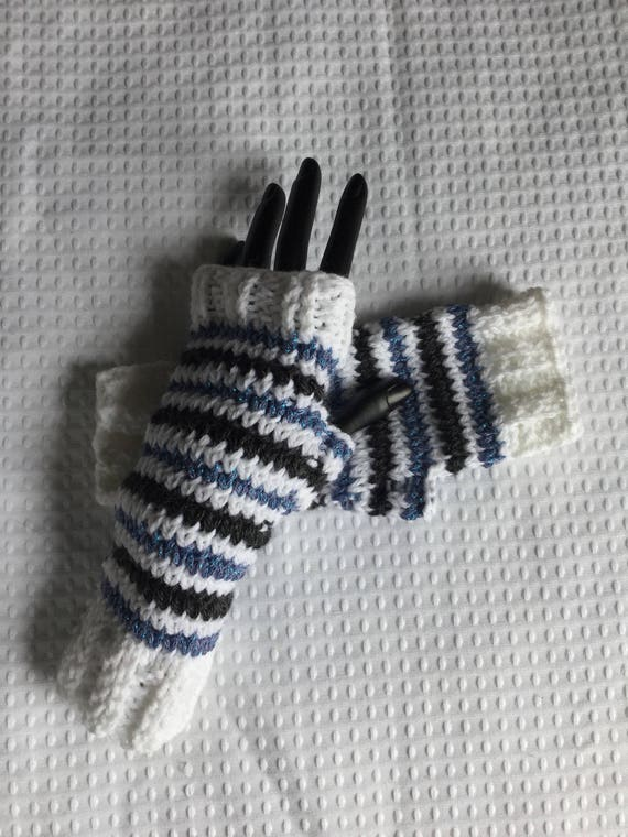 Glittering blue and white striped fingerless gloves