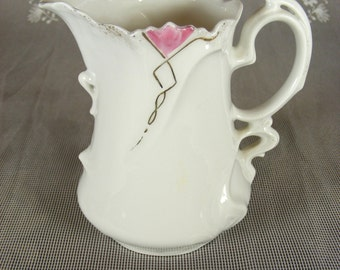 Vintage White Bone China Creamer with Pink and Gold Detailing