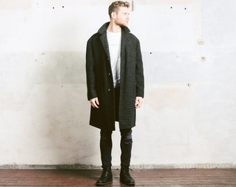 Wool OVERCOAT . Mens Winter Wool Coat Speckled Coccon Coat Outerwear Raglan Sleeves Jacket Vintage 70s Brown Coat . size XL to XXL