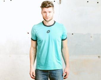 Sports T-Shirt . Men's Vintage 90 Tee Shirt LOTTO Logo Graphic Print Turquoise Blue T-Shirt Retro Oldschool Summer Shirt . size L