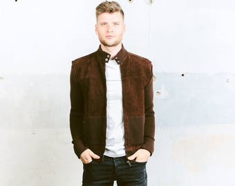Mens Suede Bomber JACKET . Knit Suede Jacket Rockabilly CARDIGAN Vintage 70s Brown Retro Hipster Sweater Bomber Jacket . size Medium