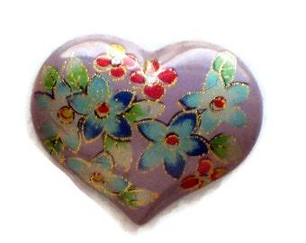 Vintage Heart Cabochon,Purple Floral Cabochon,heart Cabochon, Flowers Red Oriental Asian Large #1015A