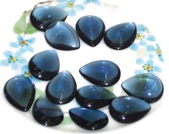 Vintage Glass Cabochons Pear Shape Teardrop Glass NOS Montana Blue OLD. #178