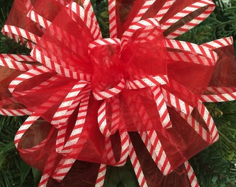 Christmas Tree Topper Bow Sheer Red Candy Cane Wreath Wall Decor Mantel Christmas New Year Mantel Decor Wedding Read