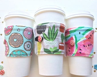 Coffee Cup Cozy, Coffee Cup Sleeve, Cup Cozy, Cup Sleeve, Reusable Coffee Sleeve - Donuts / Cactus / Watermelon  [92-94]