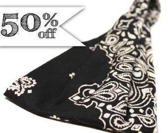 50% off - Black & Ivory Bandana, Black Bandanna Headband, Wide Headwrap (#4031) S M L X Sale