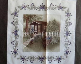 Potting Shed Moda fabric panel moss green border Nurtured Holly Taylor purple lavender quilting sewing cotton maker applique floral scrappy
