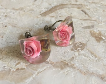 Vintage Lucite Pink Rose Earrings / Screw back earrings
