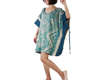 Oversize Tunic Poncho Teal Green Graphic Print Tie Dyed Dark Teal Green Cotton Jersey Pullover Women Sun Dress Tunic Top Blouse Tee