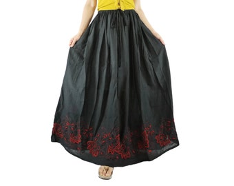 Boho Funky Chic Casual Black Light Cotton Skirt With Short Lining And Contrast Color Floral Embroidered hem Freesize Skirt WIth 2 Pockets