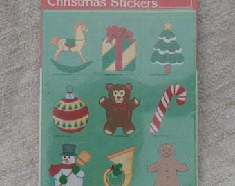 Vintage Christmas Stickers, cute 1980s Era, by Gibson Greetings Snowman, Gingerbread Man, Teddy Bear, Tree and more