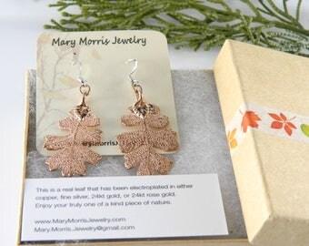 Rose Gold Oak Leaf Earrings, 24kt Rose Gold Earrings