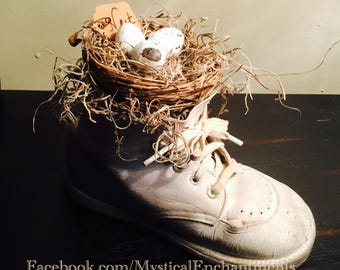 Primitive Spring feather Birds nest with eggs in vintage baby shoe