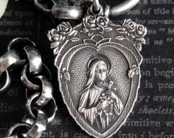 SAINT THERESA Antique Victorian Heart & Roses Medal Charm Bracelet. Sterling Silver Art Nouveau Medal. Antique Artisan Valentine Assemblage