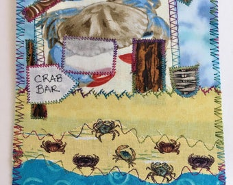 Crab Bar /Shop/Store fabric postcard