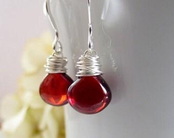 Garnet Earrings, Valentines Gift, Dark Red Stone Earrings, Sterling Silver, Pomegranate Seed Earrings, Deep Red, Merlot, Wine Red