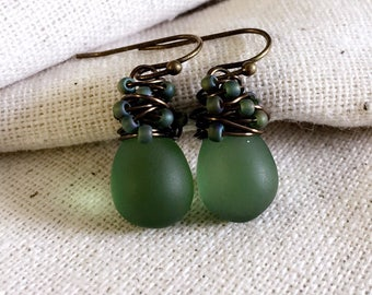 Sage Green Glass Earrings, Sea Glass Earrings, Mermaid Earrings, Czech Glass, Confetti, Wire Wrapped, Antiqued Brass, Gifts under 25