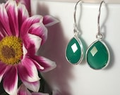 Sterling silver drop earrings with rose cut pear shaped green aventurine.