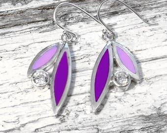 Silver and coloured resin enamel petal earrings set with zirconia, dangle earrings, drop earrings